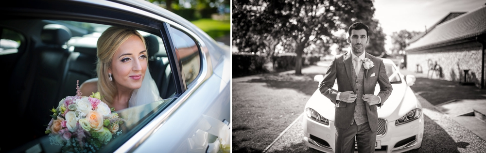 Photo montage, first shot is black and white of bride looking out of the bridal car. Second shot is groom walking infant of the wedding car at the granary barns wedding