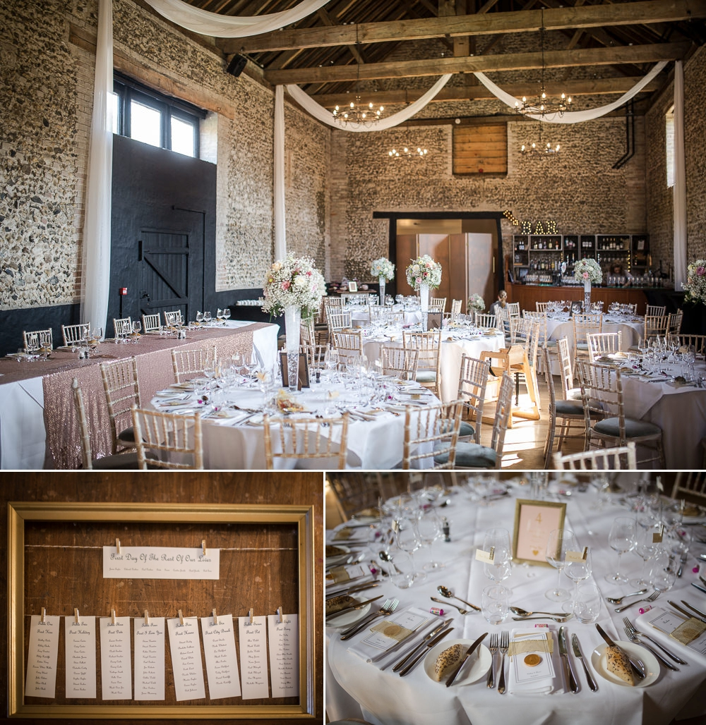Photo montage showing three images of table decor at the Granary Barns Wedding